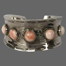 Striking Sterling Silver and Salmon Coral Cuff Bracelet