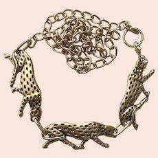 Vintage 1980s Fashion Chain Gold Tone Panther Belt M/L