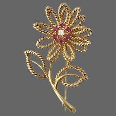 'Tiffany' 18K YG  Ruby and Diamond Flower Brooch