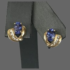 14K YG Tanzanite and Diamond Stud Earrings