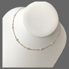 Young Ladies 14K YG Pearl Station Necklace