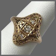 Art Deco 14K Yellow Gold 3-Stone Diamond Filigree Ring Size 6