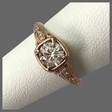1.05 CTTW Stunning 14K Rose Gold Diamond Ring Size 6