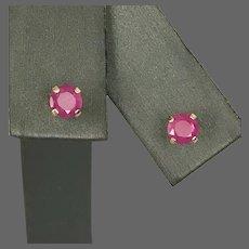 Pretty! Vintage 14K 4MM Round Natural Ruby Stud Earrings