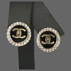 Iconic 14K YG CHANEL-Style Logo Vintage Earrings