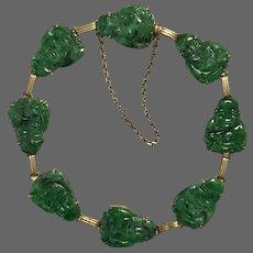 Vintage 9K Natural Jadeite Jade Buddha Bracelet 7 to 7-1/4 Inches