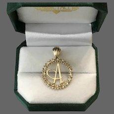 Lovely 14K Imperial Gold Letter A Pendant