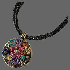 Colorful Golan Flower Garden Pendant with Black Crystal Bead Necklace
