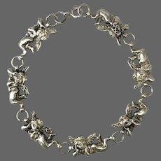 Vintage Sterling Silver Angel Link Bracelet 7-3/4 Inches