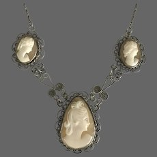 1930s Handmade 22-Inch Cameo Drop Necklace Sterling Silver