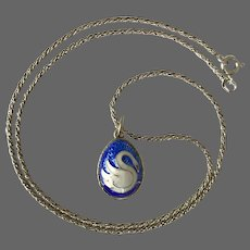 Sterling Silver Guilloché Swan Egg Pendant with Chain