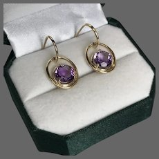 Pretty! Vintage 14K YG Amethyst Drop Earrings