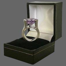 Big! Bold! Beautiful! 9.5 Carat Amethyst Sterling Silver Modernist Ring