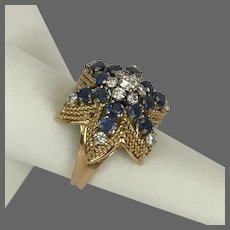18K YG Natural Blue Sapphire and Diamond Ring  Size 7-3/4