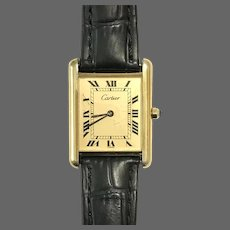 Iconic Cartier Tank Quartz Gold Plated Sterling Silver Wristwatch