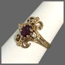 Beautiful Estate 14K Rhodolite Garnet and Diamond Ring Size 6-3/4