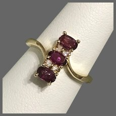 14K YG Ruby and Diamond Ring Size 6-1/2