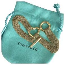 25.7 Grams TIFFANY 18K Yellow Gold Multi-Strand Heart Toggle Bracelet