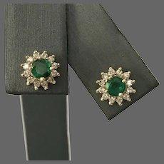 Effy 14K YG Emerald and Diamond Stud Earrings