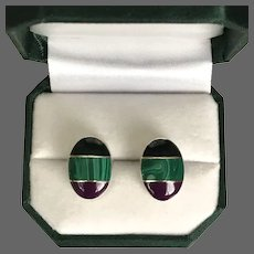 Stunning! Sugilite Malachite and Black Onyx Sterling Silver Earrings