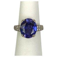 14K WG Blue Velvet Synthetic Sapphire and Natural Diamond Ring