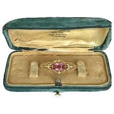 Antique Edwardian Synthetic Pink Sapphire Pin