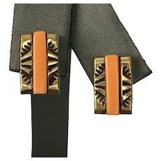 Art Deco 10K/Sterling Silver Orange Coral Earrings