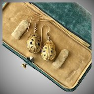 Vintage 14KGF Scarab Enamel Earrings