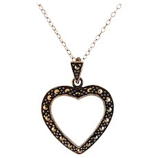 """Vintage Sterling Silver Marcasite Open Heart Pendant with 19"""" SS Chain"""