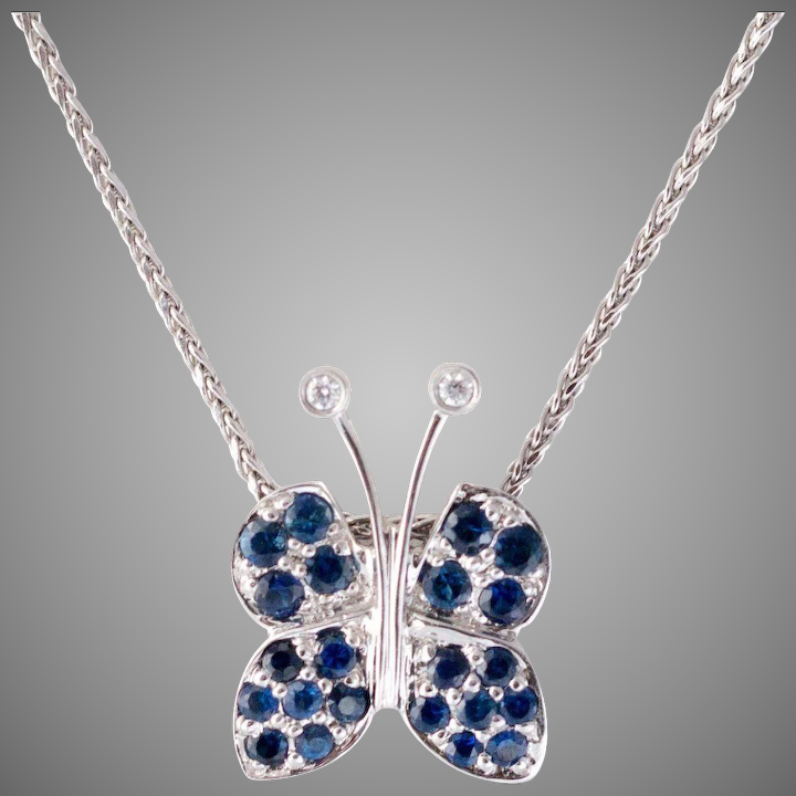 4c33c8ab1fccf 14K White Gold | Sapphire & Diamond Butterfly Pendant | with Chain