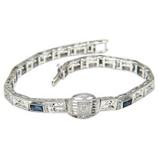 Diamond and Synthetic Sapphire Art Deco 10k Filigree Bracelet