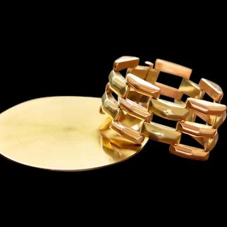 Retro Wide Two-Tone Bracelet, 14k