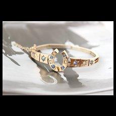 Victorian Stars & Horseshoe Sapphire and Diamond Bangle, 14k