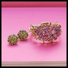 Purple Pink Tutti-Frutti Bracelet, 14k