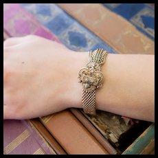 Victorian Slide Tassel Bracelet with Black Enamel and Pearls, 14k