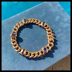 Italian Curblink Bracelet with Sapphires, 18k