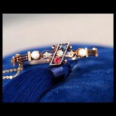 Victorian Bangle with Ruby, Sapphire, Diamond & Pearls, 12k