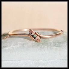 Victorian Turquoise & Pearl Bypass Bangle, 12k