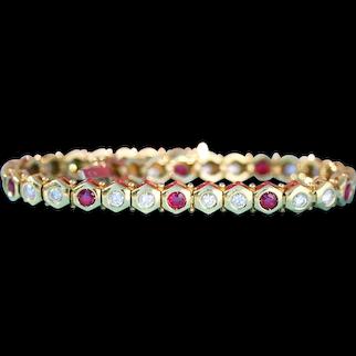 Vintage Ruby & Diamond Hexagonal Straightline Bracelet, 18k