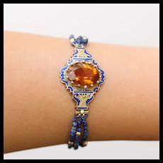 Victorian Citrine, Enamel & Lapis Lazuli Bead Bracelet, 14k