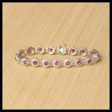 Pink Sapphire & Diamond Cluster Bracelet, 18k