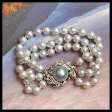 Vintage Triple Strand Silver Pearl Bracelet, 14k