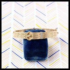 Vintage Filigree Buckle Bangle with Diamonds, 14k