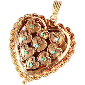Vintage Heart Locket with Turquoise, 14k