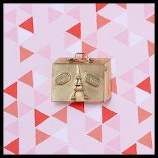 Vintage Suitcase Money Clip Charm, 14k