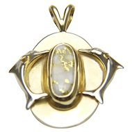 IBIZA Vintage 14 Karat Gold with Gold Quartz Dolphin Pendant