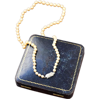 Art Deco Pearl Strand Necklace, 14k