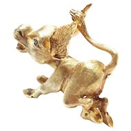 Vintage 18 Karat Gold and Sapphire Flying Donkey Brooch Estate Jewelry