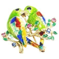 Lovebird Ruby and Sapphire 14 Karat Gold Enamel Pin