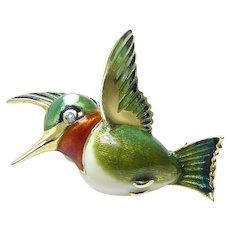 Hummingbird 14 Karat Yellow Gold Enamel Pin